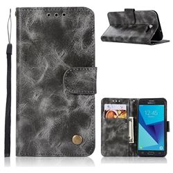 Luxury Retro Leather Wallet Case for Samsung Galaxy J3 2017 Emerge US Edition - Gray