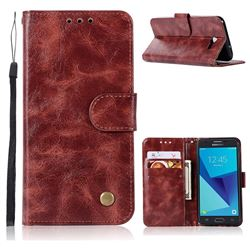 Luxury Retro Leather Wallet Case for Samsung Galaxy J3 2017 Emerge US Edition - Wine Red