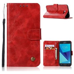 Luxury Retro Leather Wallet Case for Samsung Galaxy J3 2017 Emerge US Edition - Red