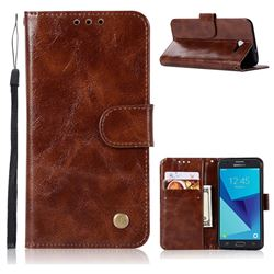 Luxury Retro Leather Wallet Case for Samsung Galaxy J3 2017 Emerge US Edition - Brown
