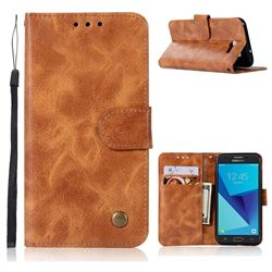 Luxury Retro Leather Wallet Case for Samsung Galaxy J3 2017 Emerge US Edition - Golden