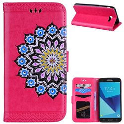 Datura Flowers Flash Powder Leather Wallet Holster Case for Samsung Galaxy J3 2017 Emerge US Edition - Rose