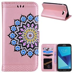 Datura Flowers Flash Powder Leather Wallet Holster Case for Samsung Galaxy J3 2017 Emerge US Edition - Pink