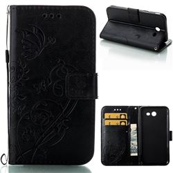 Embossing Butterfly Flower Leather Wallet Case for Samsung Galaxy J3 2017 Emerge US Edition - Black