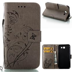 Embossing Butterfly Flower Leather Wallet Case for Samsung Galaxy J3 2017 Emerge US Edition - Grey