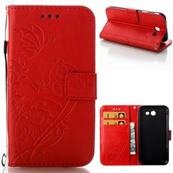 Embossing Butterfly Flower Leather Wallet Case for Samsung Galaxy J3 2017 Emerge US Edition - Red