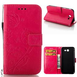 Embossing Butterfly Flower Leather Wallet Case for Samsung Galaxy J3 2017 Emerge US Edition - Rose