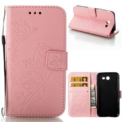 Embossing Butterfly Flower Leather Wallet Case for Samsung Galaxy J3 2017 Emerge US Edition - Pink