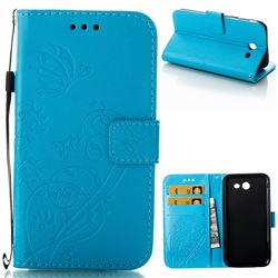 Embossing Butterfly Flower Leather Wallet Case for Samsung Galaxy J3 2017 Emerge US Edition - Blue