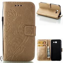 Embossing Butterfly Flower Leather Wallet Case for Samsung Galaxy J3 2017 Emerge US Edition - Champagne
