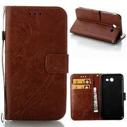 Embossing Butterfly Flower Leather Wallet Case for Samsung Galaxy J3 2017 Emerge US Edition - Brown
