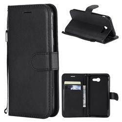 Retro Greek Classic Smooth PU Leather Wallet Phone Case for Samsung Galaxy J3 2017 Emerge US Edition - Black