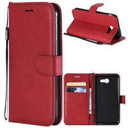 Retro Greek Classic Smooth PU Leather Wallet Phone Case for Samsung Galaxy J3 2017 Emerge US Edition - Red