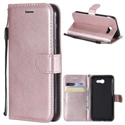 Retro Greek Classic Smooth PU Leather Wallet Phone Case for Samsung Galaxy J3 2017 Emerge US Edition - Rose Gold