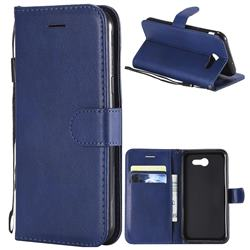 Retro Greek Classic Smooth PU Leather Wallet Phone Case for Samsung Galaxy J3 2017 Emerge US Edition - Blue