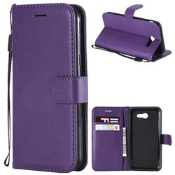 Retro Greek Classic Smooth PU Leather Wallet Phone Case for Samsung Galaxy J3 2017 Emerge US Edition - Purple