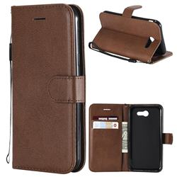 Retro Greek Classic Smooth PU Leather Wallet Phone Case for Samsung Galaxy J3 2017 Emerge US Edition - Brown