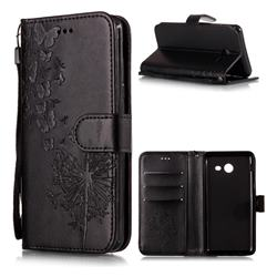Intricate Embossing Dandelion Butterfly Leather Wallet Case for Samsung Galaxy J3 2017 Emerge US Edition - Black