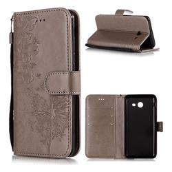 Intricate Embossing Dandelion Butterfly Leather Wallet Case for Samsung Galaxy J3 2017 Emerge US Edition - Gray