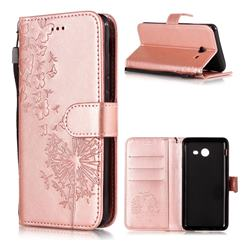 Intricate Embossing Dandelion Butterfly Leather Wallet Case for Samsung Galaxy J3 2017 Emerge US Edition - Rose Gold