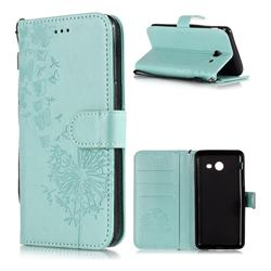Intricate Embossing Dandelion Butterfly Leather Wallet Case for Samsung Galaxy J3 2017 Emerge US Edition - Green