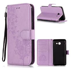 Intricate Embossing Dandelion Butterfly Leather Wallet Case for Samsung Galaxy J3 2017 Emerge US Edition - Purple