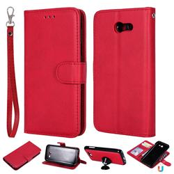 Retro Greek Detachable Magnetic PU Leather Wallet Phone Case for Samsung Galaxy J3 2017 Emerge US Edition - Red