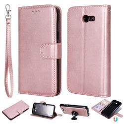 Retro Greek Detachable Magnetic PU Leather Wallet Phone Case for Samsung Galaxy J3 2017 Emerge US Edition - Rose Gold
