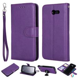 Retro Greek Detachable Magnetic PU Leather Wallet Phone Case for Samsung Galaxy J3 2017 Emerge US Edition - Purple