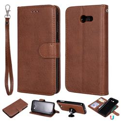 Retro Greek Detachable Magnetic PU Leather Wallet Phone Case for Samsung Galaxy J3 2017 Emerge US Edition - Brown