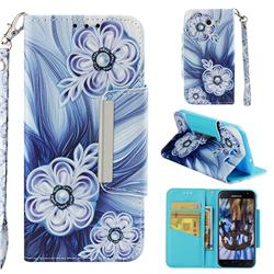Button Flower Big Metal Buckle PU Leather Wallet Phone Case for Samsung Galaxy J3 2017 Emerge US Edition