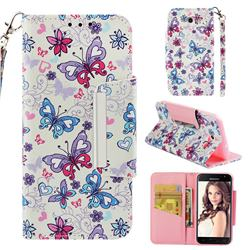 Colored Butterfly Big Metal Buckle PU Leather Wallet Phone Case for Samsung Galaxy J3 2017 Emerge US Edition