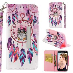 Owl Wind Chimes Big Metal Buckle PU Leather Wallet Phone Case for Samsung Galaxy J3 2017 Emerge US Edition