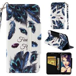 Peacock Feather Big Metal Buckle PU Leather Wallet Phone Case for Samsung Galaxy J3 2017 Emerge US Edition