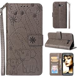 Embossing Fireworks Elephant Leather Wallet Case for Samsung Galaxy J3 2017 Emerge US Edition - Gray