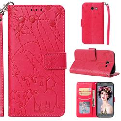 Embossing Fireworks Elephant Leather Wallet Case for Samsung Galaxy J3 2017 Emerge US Edition - Red