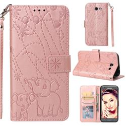 Embossing Fireworks Elephant Leather Wallet Case for Samsung Galaxy J3 2017 Emerge US Edition - Rose Gold