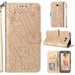 Embossing Fireworks Elephant Leather Wallet Case for Samsung Galaxy J3 2017 Emerge US Edition - Golden