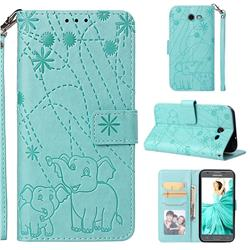 Embossing Fireworks Elephant Leather Wallet Case for Samsung Galaxy J3 2017 Emerge US Edition - Green