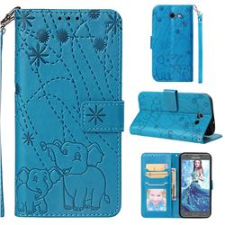 Embossing Fireworks Elephant Leather Wallet Case for Samsung Galaxy J3 2017 Emerge US Edition - Blue