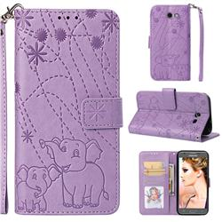Embossing Fireworks Elephant Leather Wallet Case for Samsung Galaxy J3 2017 Emerge US Edition - Purple
