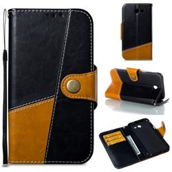 Retro Magnetic Stitching Wallet Flip Cover for Samsung Galaxy J3 2017 Emerge US Edition - Black