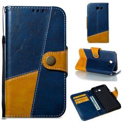 Retro Magnetic Stitching Wallet Flip Cover for Samsung Galaxy J3 2017 Emerge US Edition - Blue
