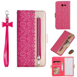 Luxury Lace Zipper Stitching Leather Phone Wallet Case for Samsung Galaxy J3 2017 Emerge US Edition - Rose