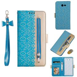 Luxury Lace Zipper Stitching Leather Phone Wallet Case for Samsung Galaxy J3 2017 Emerge US Edition - Blue