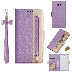 Luxury Lace Zipper Stitching Leather Phone Wallet Case for Samsung Galaxy J3 2017 Emerge US Edition - Purple