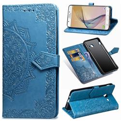 Embossing Imprint Mandala Flower Leather Wallet Case for Samsung Galaxy J3 2017 Emerge US Edition - Blue