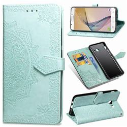 Embossing Imprint Mandala Flower Leather Wallet Case for Samsung Galaxy J3 2017 Emerge US Edition - Green