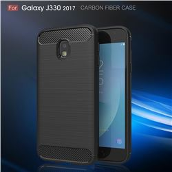 Luxury Carbon Fiber Brushed Wire Drawing Silicone TPU Back Cover for Samsung Galaxy J3 2017 J330 Eurasian (Black)