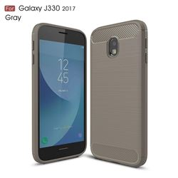 Luxury Carbon Fiber Brushed Wire Drawing Silicone TPU Back Cover for Samsung Galaxy J3 2017 J330 Eurasian (Gray)